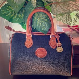Dooney and bourke blue and tan handbag
